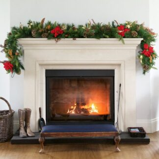 Luxury Christmas Red Poinsettia Garland