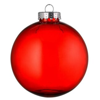 red tinted glass look bauble