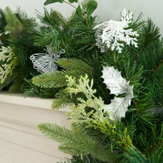 Luxury Silver Themed Artifical Christmas Garland
