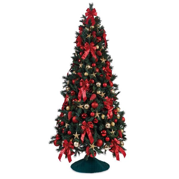 traditional red and gold hire artificial christmas tree