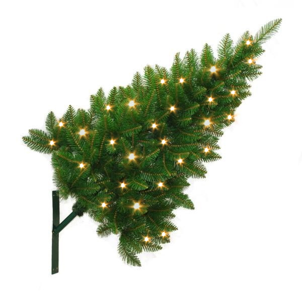 """Artificial christmas """"street tree"""" prelit with warm white LEDs, showing a fixing for mounting the tree diagonally on a wall."""
