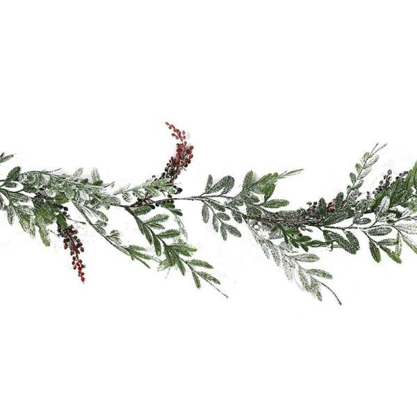 Frosted leaf and berry garland