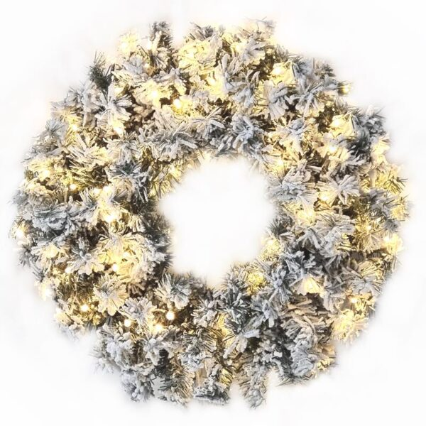 A pre-lit Norway Spruce flocked wreath. The lights are warm white. The flocked coating gives the wreath a snowy effect.