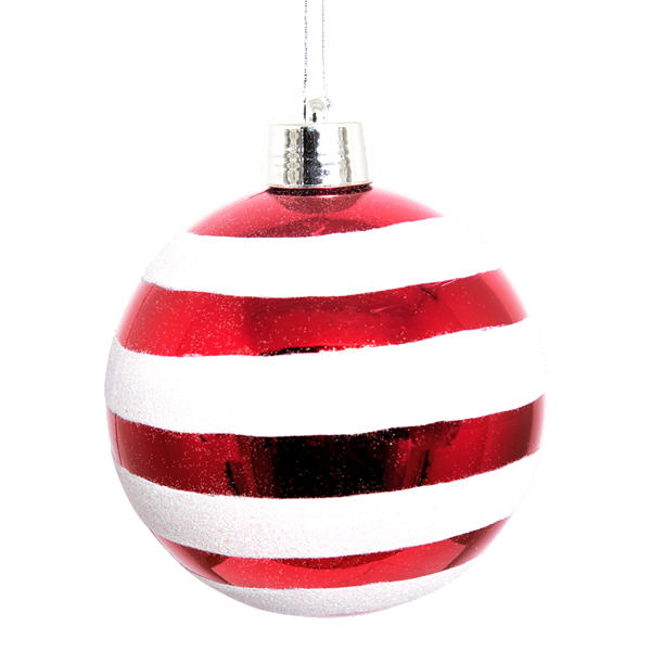 Red and textured white striped bauble with silver cap and metalic hang string on a white background