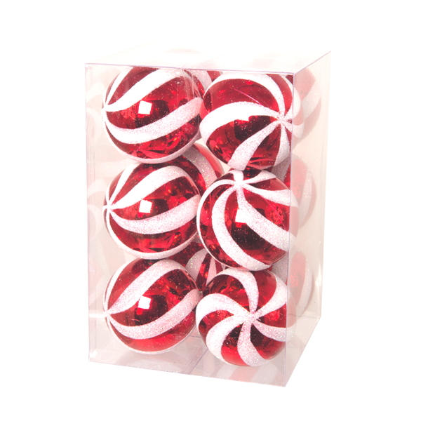 Pack of 12 red and textured white striped baubles in a transparent box on a white background