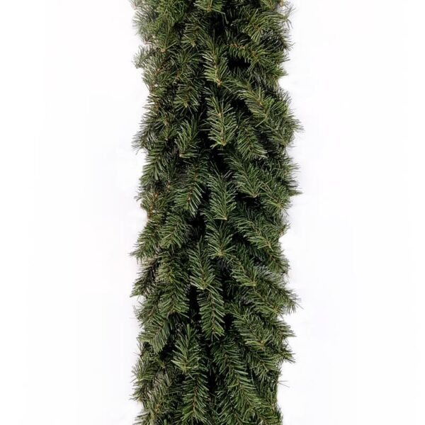Ruthven Pine garland laid out on a white background. It is a multifaceted forest green colour and looks bushy and full.